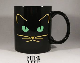 Cats | Black Cat Face | Coffee Mug