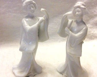 Vintage Homco Taiwan porcelain Geisha figurines. Free ship to US
