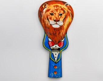 Vintage Lion Tin Whistle Japan 1940's Child's Toy Lithograph Guitar Shape Noisemaker Instrument
