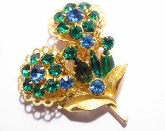 Vintage Blue Green Rhinestone Flower Brooch