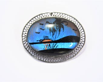 Vintage Sterling Butterfly Wing Tropical Sunset Brooch