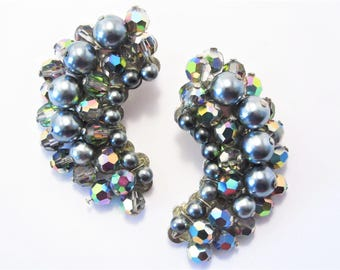 Vintage Gray Pearl Crescent Crystal Cluster Earrings Clip On