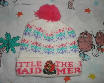 Vintage 90's Little Mermaid roll up Pom Beanie, Adult Size Small classic Disney cartoon