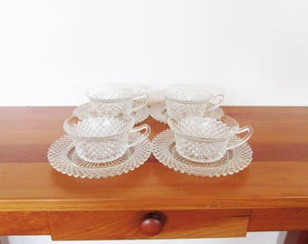 Anchor Hocking Miss America Cups and Saucers Set of Four
