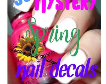 Mystery grab bag surprise 500 mix lot spring Waterslide Nail Decals Free Shipping