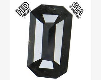 GIA CERTIFIED 1.55 Ct Natural Loose Diamond Emerald Fancy Black Color L7217 Bkk