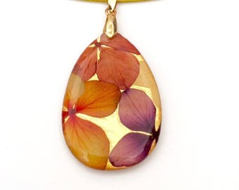 Real Hydrangea Pendant 24kt Gold Plated, Large
