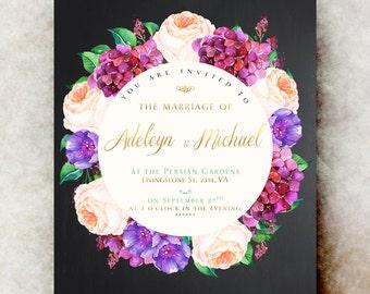 Floral Wedding Invitation printable - black elegant wedding invitation, printable wedding invitation, rustic wedding invitation