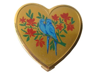 Love Birds Heart Powder Compact - Vintage Vanity Compact - Superb Powder Compact - Purse Accessory - Wedding Compact