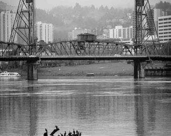 Portland Oregon Photograph, Portland Bridges, PDX, Hawthorne Bridge Photograph, 8x10 Print, City Photograph, Downtown PDX, Willamette River