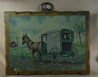 Vintage 70s Amish Wooden Plaque, Amish Wall Decor, Amish Picture, Amish Decor