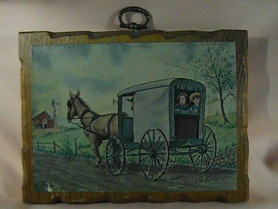 Vintage 70s Amish Wooden Plaque Amish Wall Decor Amish