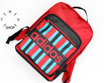 NOS Adidas Originals red backpack / Unisex One Size ruckasack / Rare collectors city urban bag / Made in Vietnam 80s 90s
