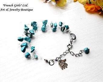 Raw Turquoise Floating Bracelet Blue Gemstone Glass Seed Bead Multistrand Air Invisible Crochet Boho Healing Crystal Stone Handmade Charm