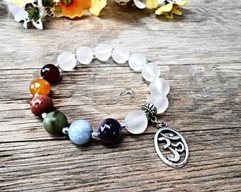 Chakra Gemstone Bracelet Agate Clear quartz Rock Crystal Beaded Healing Crystal Stone Yoga Zen Meditation Mala Jewelry Ohm Charm Pendant