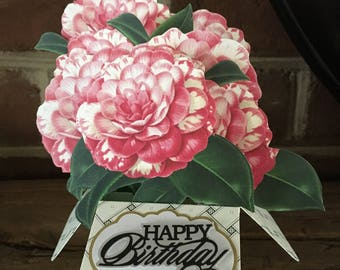 Birthday Card, Unique 3D Box Cards, Floral Pop-up card, Carnations, Handmade Greeting Card, Flower Bouquets