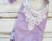 Lavender romper, sitter romper, purple romper, lace romper, sitter set, baby romper, baby girl outfit, Easter outfit, cake smash outfit