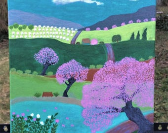 Folk Art CHERRY HILL PARK Spring landscape 12 x 12 in. original mixed media painting, cherry trees, pond, park, hills, orchard