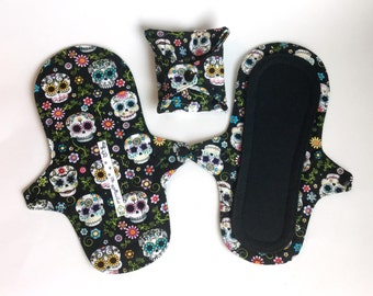 Light Day Panty Liner, Washable Cloth Pad, Leak Resistant PUL, Reusable Cloth Pantyliner in Sugar Skull Print, Light Incontinence Pad