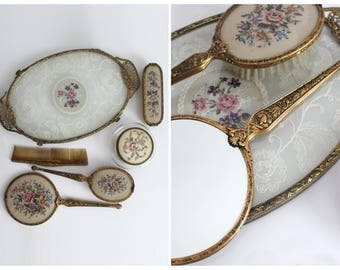 Vintage Vanity Set / Embroidered Lace Floral Detail / Dressing Table Set / Tray, Brush, Mirror, Jewellery Box / FREE UK SHIPPING