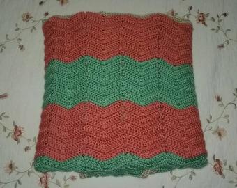 Coral/Aqua Green Throw Blanket