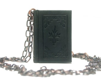 Handmade leather chained book necklace - Black