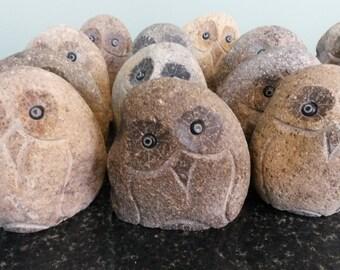 """4"""" Stone Rock Boulder Owls"""