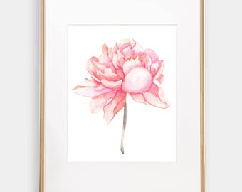 Art Print Pink Peony watercolor print, floral watercolor giclee, Canvas print Watercolour Art Print Giclée, Frame NOT Included