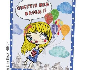 1 stk. bursdagskort/kunstkort med illustrasjon av Susann Brox Nilsen. Doble med konvolutt, NORSK tekst. Birthday, greeting cards, drawing.