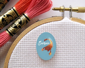 Magnetic Zodiac (Scorpio) Needle Minder for Cross Stitch, Embroidery, & Needlecrafts (18mmx25mm with Strong Magnet)
