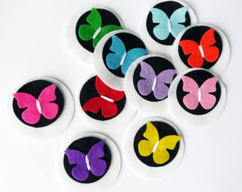 Felt butterfly brooch, 10 pieces, party favors, felt brooches, felt pin, pin, brooch, accesories, girl accesories, Birthday favors