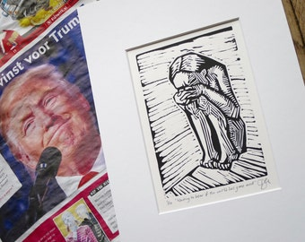 """Trump despair: """"Waiting to hear if the world has gone mad"""", limited edition linocut, donation to refugees for each sold. Mounted, unframed."""