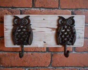 Double Cast Iron Owl Hooks on Reclaimed Wood