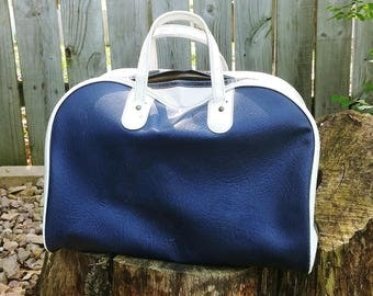 Royal Blue Faux Leather Bowling/Sports/Gym/Carry On Bag