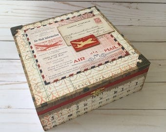 Tim Holtz Expedition Altered Box, Storage box, Craft Box, Altered Cigar Box, Keepsake box