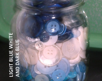 One Full Pint Jar of Buttons Most colors available  Red Blue Pink Green White Orange Black and Yellow