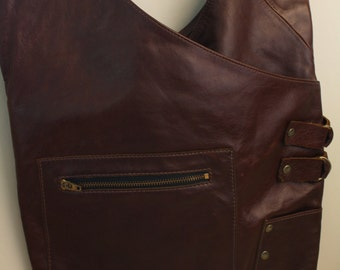 Vintage Leather Hobo Bag Purse Dark Brown