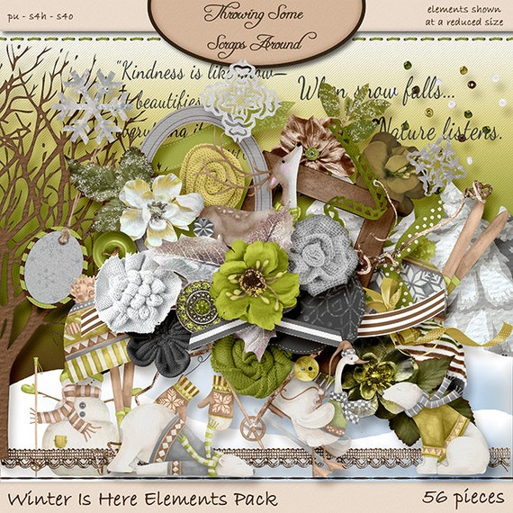 Digital Scrapbooking, Elements Pack: Winter Is Here