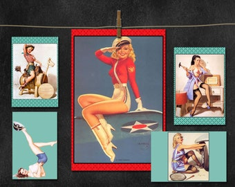 Retro 40's Pinup Decor ~ Vintage Ads and Poster Girls ~ Table Centerpieces, Wall Art, Props~ DIY Printable