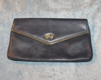 Vintage Etienner Aigner Large Clutch, Blue w Large Flap & Snap to Close The Purse, Great for Dinners Out, or Work, Brass Fittings, Leather