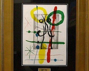 Mid Century Modern Cartoons II by Joan Miro Framed Lithograph COA