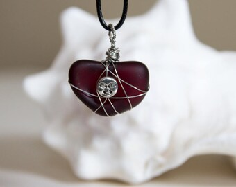 Crimson Sea Glass with Smiling Face Charm