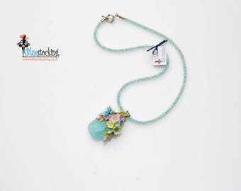 "Boho jewelry Unique handmade jewelry Polymer clay necklace Bib  Rustik Necklace ""Forget-me-not"""
