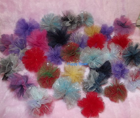 Puppy Bows ~NEW disco balls dog grooming bow all colors of tulle