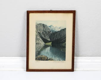 Vintage etching illustration original artwork framed and signed HANS FREY Obersee graphic