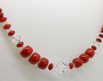 Swarovski Crystal Gemstone Necklace Red Coral Bead Beaded Handmade Jewellery By TaKuKai Beads UK