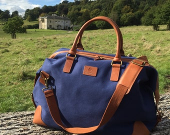 Grantham Blue Canvas and Leather Travel Bag by BURGHLEY BAGS