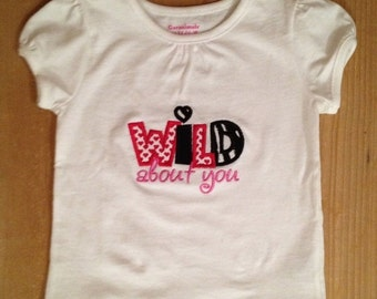 Red and Black Wild About You Embroidered Valentine's Day Shirt or Baby Bodysuit