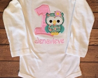 Pink and Seafoam Green girly owl birthday shirt or baby bodysuit