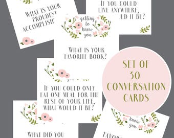Conversation Cards - Party Game - Party Decor - Activity Idea - Instant Download Party Printable - Dinner Party Printable - Pink & Green